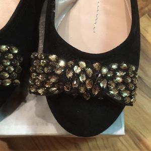 Dolce Vita Shoes - Black Seude Flats with Bow